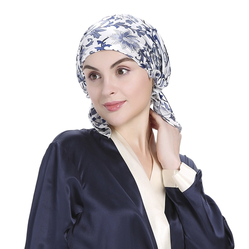16 Momme Blue and white Silk Sleeping Cap