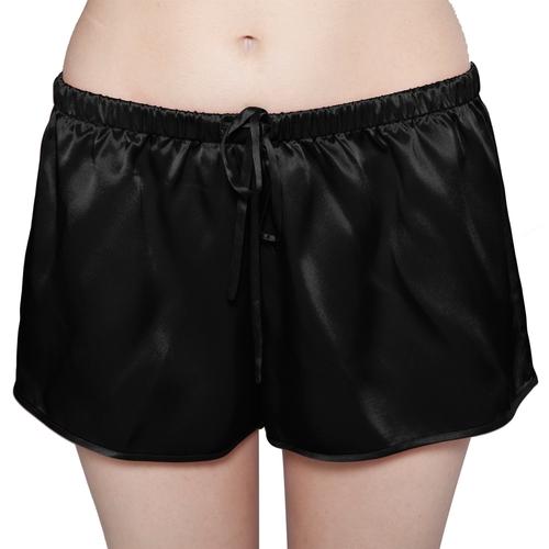 Negro Pantalón De Pijama Seda