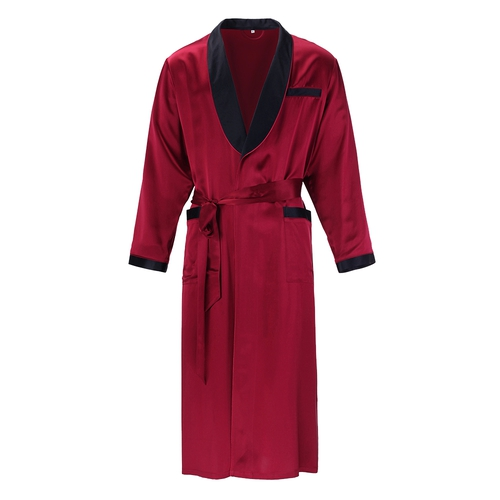 22 Momme Business Contrast Long Silk Robe