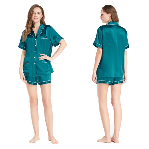 22 Momme Chic Trimmed Short Silk Pajamas Set