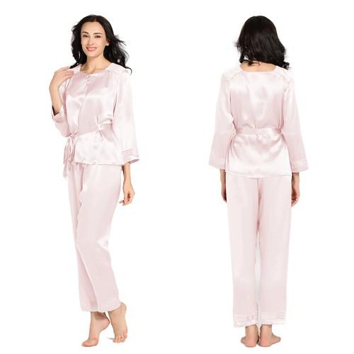Light Pink Women Silk Pajama