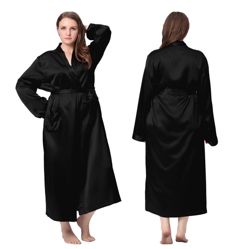 Black Plus Size Silk Robe