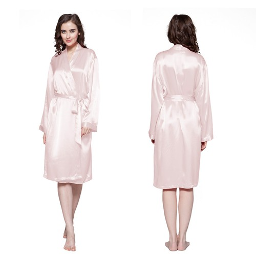 Light Pink Women Silk Robe