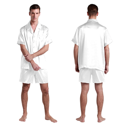 Suite De Pyjashort En Soie Luxueuse Classique Pour Homme