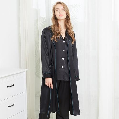 22 Momme Kraag Zijden Pyjama & Kamerjas Set Met Contrast Trim