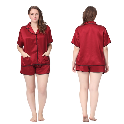 22 Momme Contra Short Silk Pajama Set Plus Size