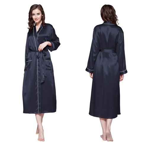 22 Momme Contra Trim And Full Length Silk Dressing Gown
