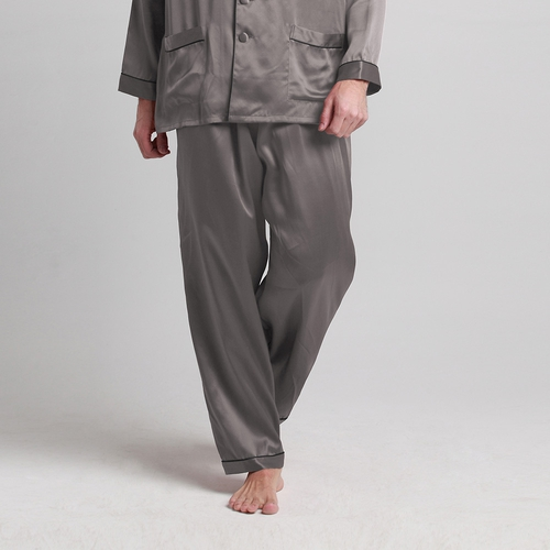 22 Momme Contra Trim Full Length Silk Pajama Bottoms for Men