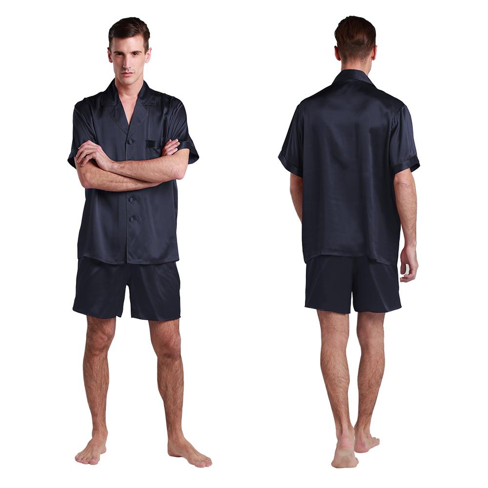 4b0ff42327 Men Short Silk Pajama Set 22 Momme Contrast Trim 100% Mulberry Silk ...