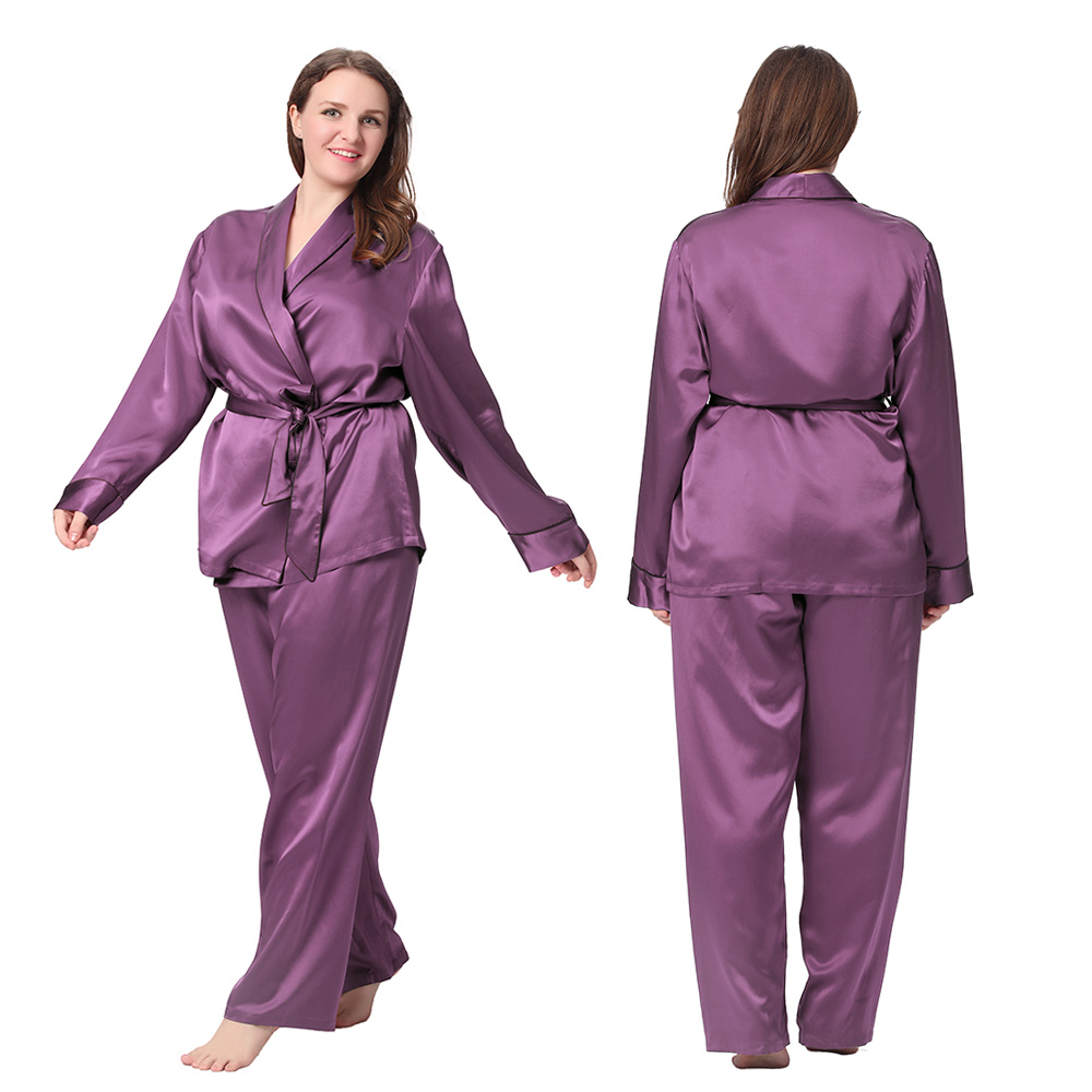 22 Momme Contrast Trim Silk Pyjamas Set Plus Size