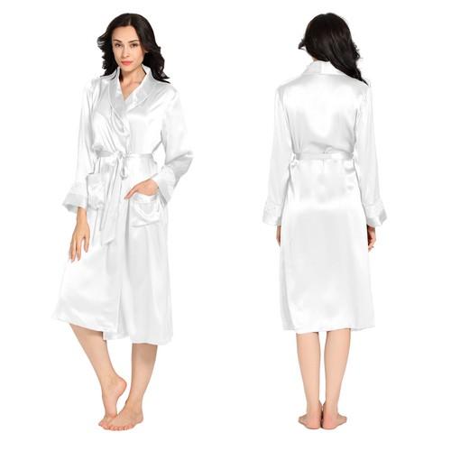 White Women Silk Dressing Gown