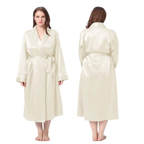 Beige Plus Size Silk Dressing Gown