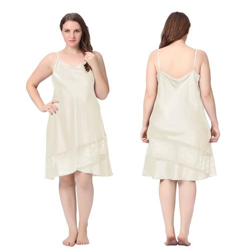 Beige Plus Size Silk Nightgown