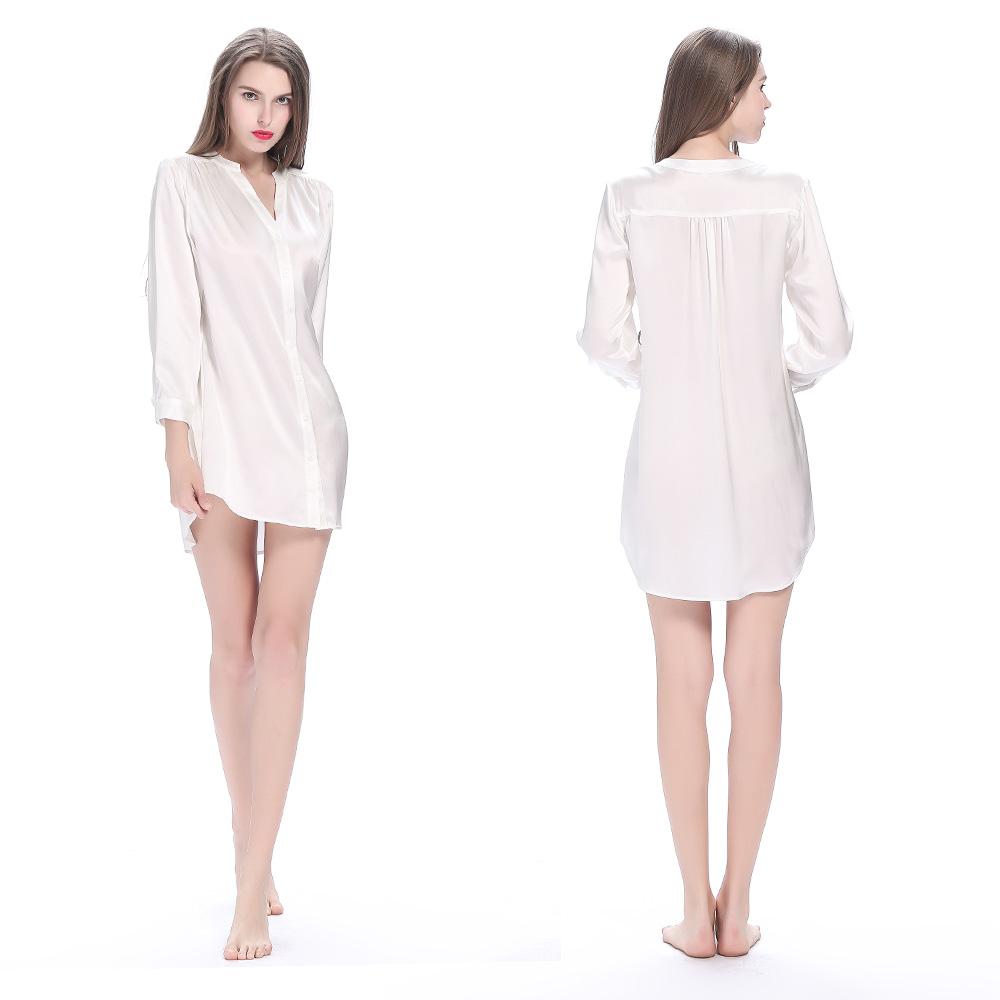 Short Women Silk Nightshirt White