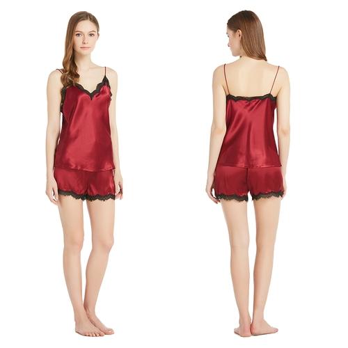 22 Momme Eyelash Laced Silk Camisole Set
