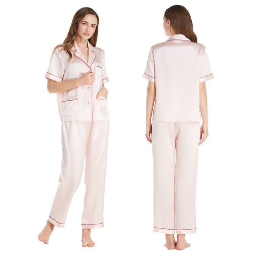 22 Momme Fashionable Silk Pajamas Set With Short Sleeves