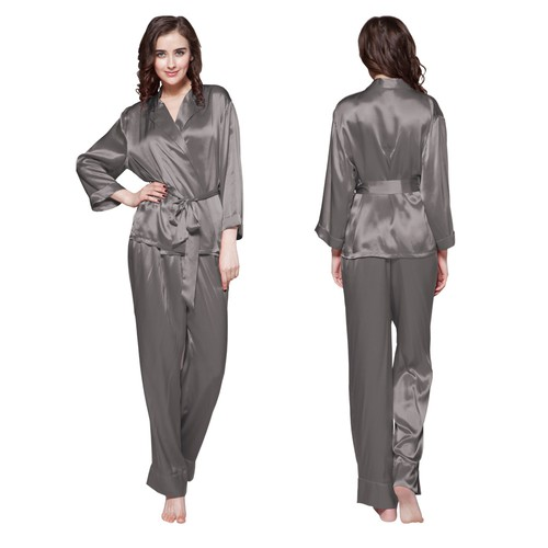 Dark Gray Women Silk Pyjamas