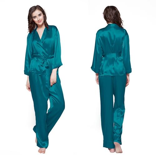 22 Momme Fold Over Classic Silk Pajamas Set
