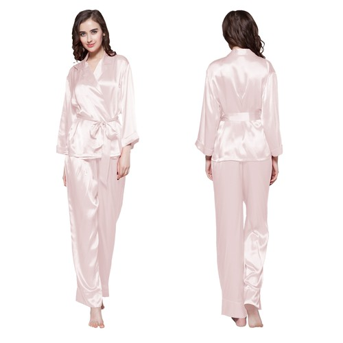 Light Pink Women Silk Pajama