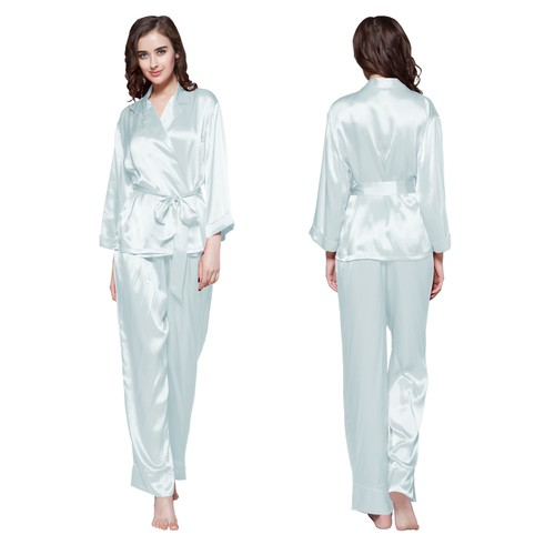 22 Momme Fold Over Classic Silk Pajama Set