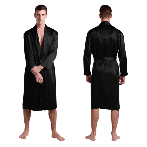 22 Momme Full Length V Neck Silk Dressing Gown