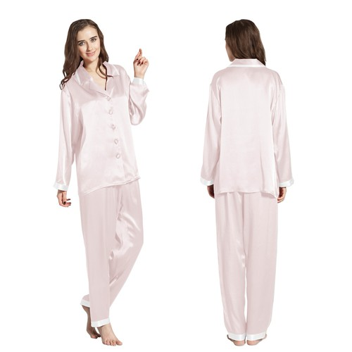 Light Pink Women Silk Pyjamas