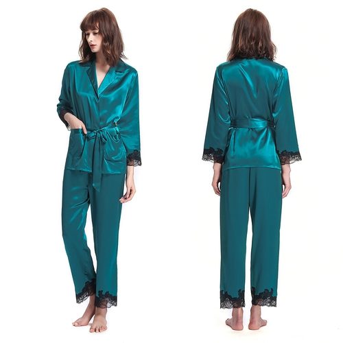 22 Momme Graceful Silk Pajamas Set With Lace Trim