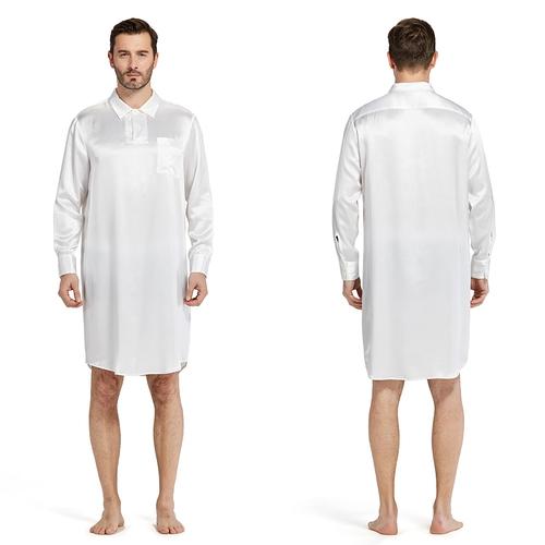 22 Momme Halber Geknöpfter Front Seide Nachthemd für Herren