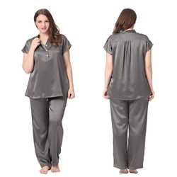 22 Momme Half Buttoned Front Silk Pajamas Set Plus Size