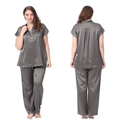 22 Momme Half Buttoned Front Silk Pajamas Set Plus Size