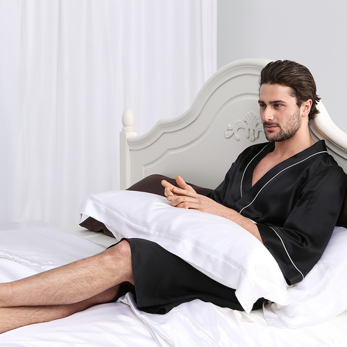 Robe de Chambre Homme en Soie Luxeux 22mm Col Kimono