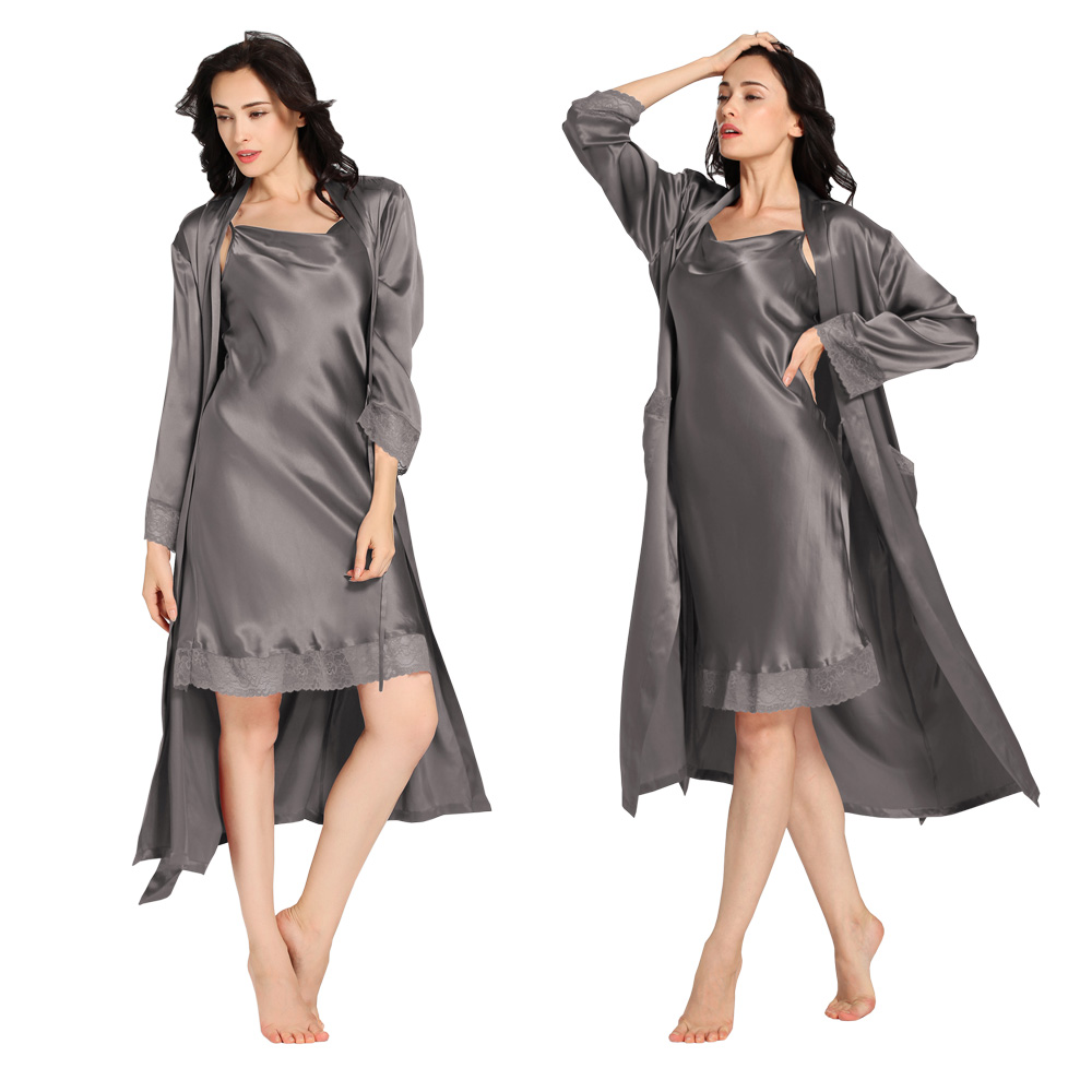 22 Momme Lace Long Silk Nightdresses & Dressing Gown Set