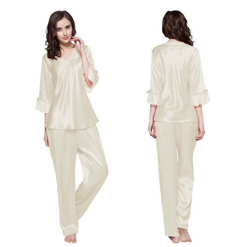 22 Momme Laced Silk Pyjamas Set
