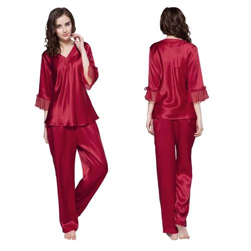 22 Momme Laced Zijden Pyjama Set