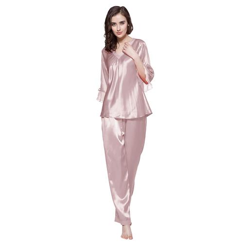 22 Momme Laced Silk Pajamas Set