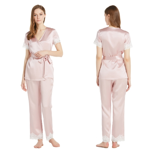 22 Momme Laced Silk Pyjamas Set With Short Sleeves