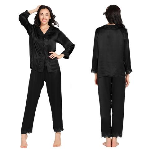 22 Momme Lacey Contrast Trim Zijden Pyjamas Set