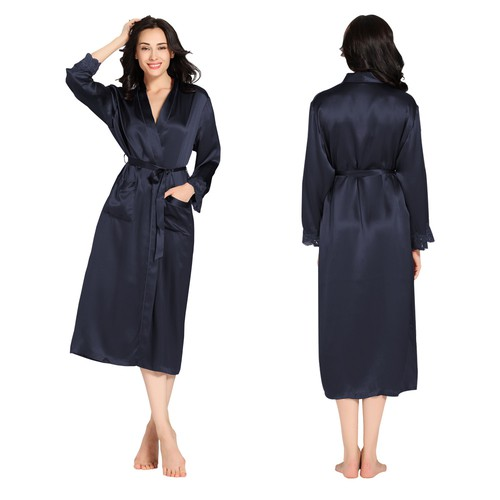 22 Momme Lacey Cuff Long Silk Robe
