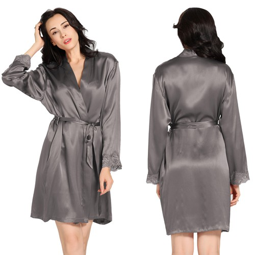 Dark Gray Women Silk Dressing Gown