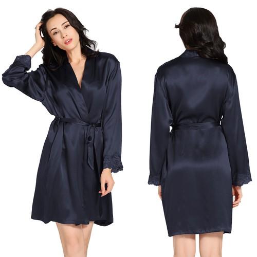 Navy Blue Women Silk Robe