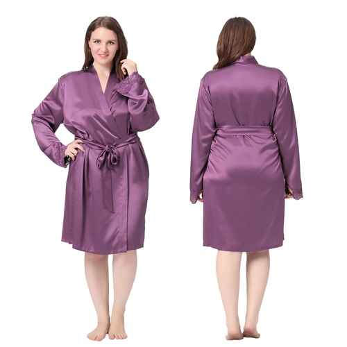 Violet Plus Size Silk Robe