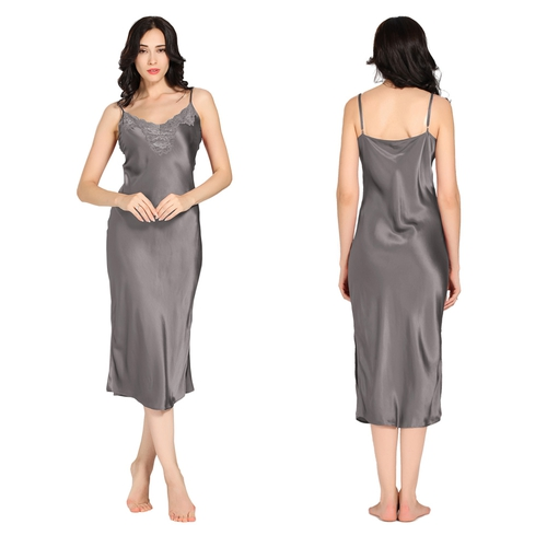 Dark Gray Women Silk Nightgown