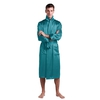 Dark Teal Men Silk Robe