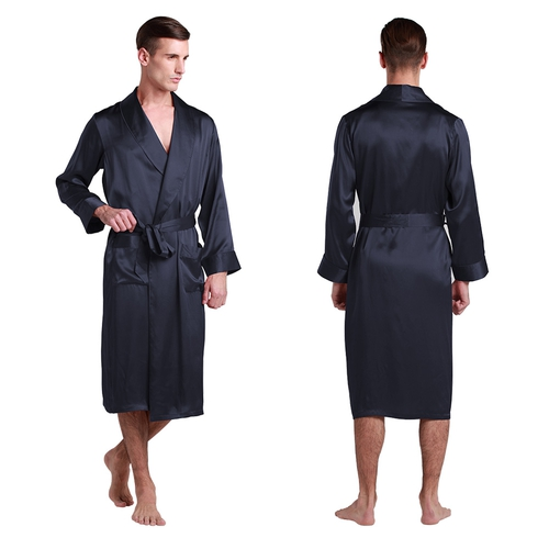 Navy Blue Men Silk Robe