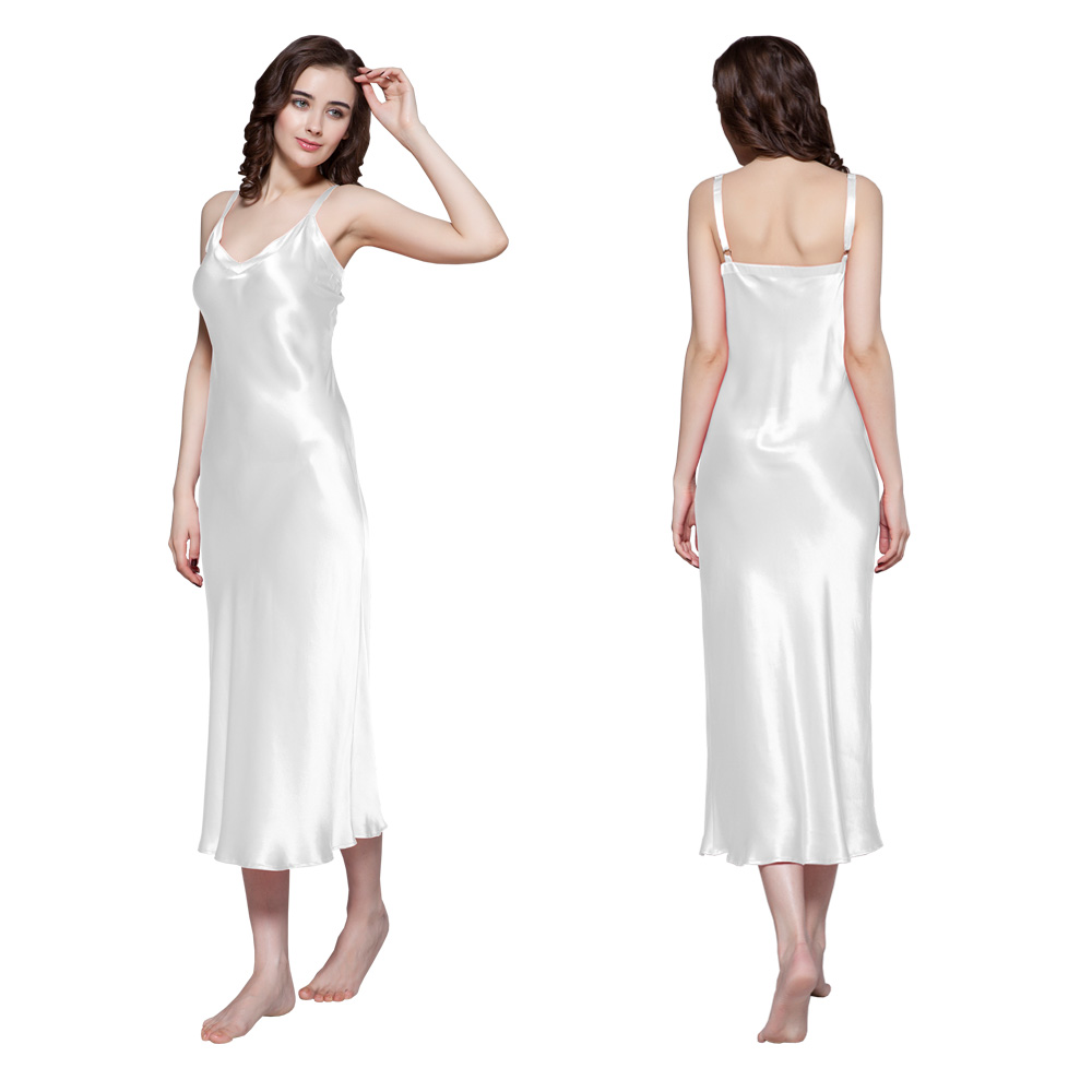chemise de nuit en soie 22 momme robe sexy pour femme. Black Bedroom Furniture Sets. Home Design Ideas