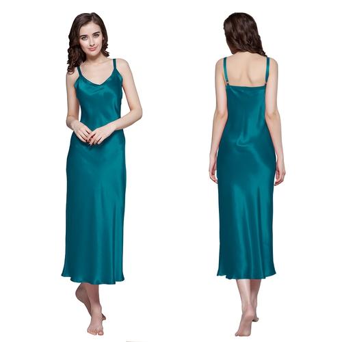 Camicia da notte lunga e aderente di 22 momme seta da donna