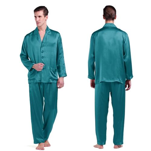 Dark Teal Men Silk Pajamas