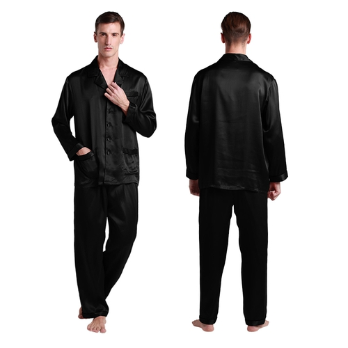 22 Momme Long Silk Pajamas Set with Contrast Trim