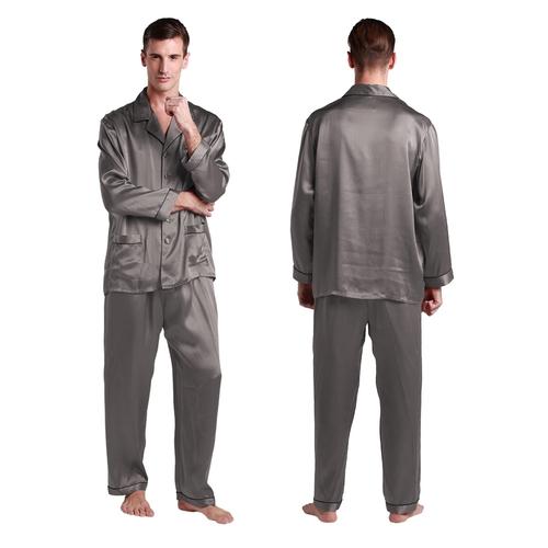22 Momme Conjunto de Pijamas Larga de Seda con Contraste Recorte