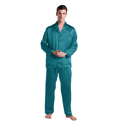 22 Momme Long Silk Pajamas Set with Contrast Trim